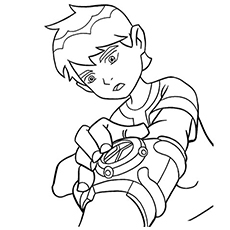 ben 10 is ready to take on enemies color to print sheets - Ben Ten Coloring Pages
