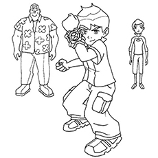 ben 10 with his cousins coloring pages - Ben Ten Coloring Pages