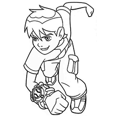 Ben With Famous Watch Omnitrix Coloring Pages
