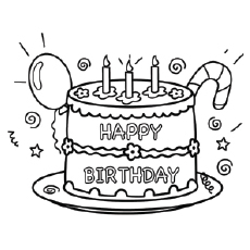 birthday cake coloring page - Coloring Pages For Happy Birthday