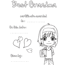 Coloring Pages of Birthday Certificate to Grandma