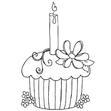Birthday Cupcake Coloring Pages Sheets