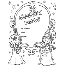 Birthday Party Invitation Card Coloring Pages