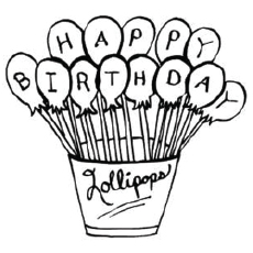 happy birthday lollipops coloring pages for kids - Birthday Coloring Sheets