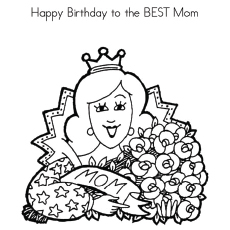 birthday wishes for mommy blowing the candles of cake coloring page