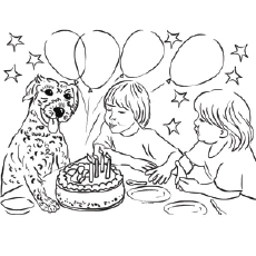 blowing the candles of cake colorful kitty birthday card pages