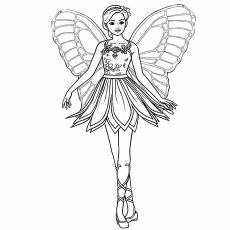 Butterfly Barbie Princess Fashionable Coloring Sheets
