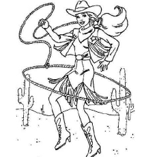 Barbie as Cowgirl Coloring Pages