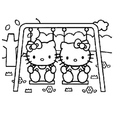 Cute Hello Kitties On A Swing Coloring Pages