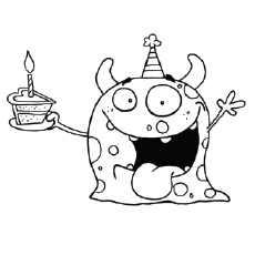 cute monster wishing birthday dino carries birthday cake coloring pages