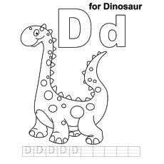 D for Dinosaur Coloring Pages for kids