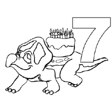 Dino Carries Birthday Cake Coloring Pages
