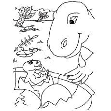 Baby Dinosaur Came out of Egg and Playing With Mamma Coloring Pages