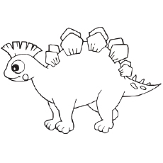 Printable Coloring Pages of Dinosaur With Pentagons on Back