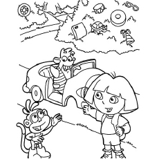 Dora Boots And Tico In Frame The Celebrates Birthday With Friends Coloring Pages