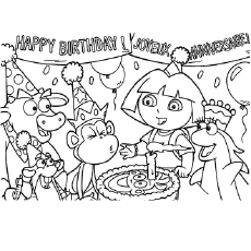 the dora celebrates birthday with friends coloring pages - Dora The Explorer Pictures To Color And Print