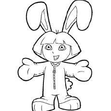 dressed as bunny the dora dressed for winters coloring pages