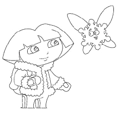 The Dora Dressed For Winters Coloring Pages