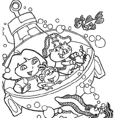 The Dora Exploring Under the Sea Coloring Pages