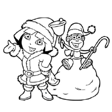 The Dora Gets Ready for Christmas Coloring Pages