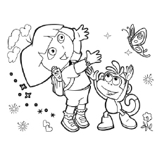 The Dora Goes Butterfly Catching Coloring Pages