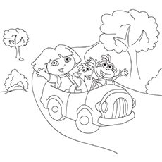 The-Dora-Goes-For-A-Ride- coloring pages