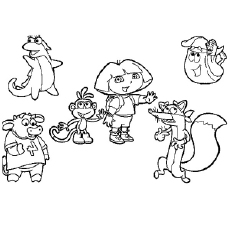 dora and her friends the dora in a halloween coloring pages