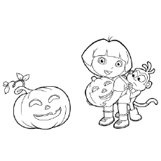 The Dora In A Halloween Coloring Pages