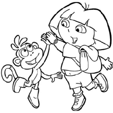 Dora Playing With Her Friend The On Beach Coloring Pages