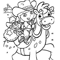 dora as a cowgirl the dora as a fairy princess coloring pages