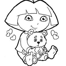 The Dora with a Teddy Coloring Pages