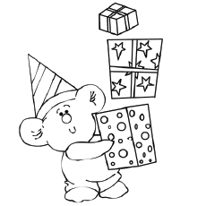 Birthday Gift Boxes Coloring Page