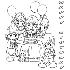 Celebrating Birthday with Fun Friends Coloring Pages