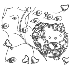 Hello Kitty Dancing Happy Birthday Coloring Pages