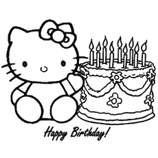 Hello Kitty Happy Birthday Reading Coloring Pages