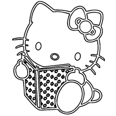hello kitty reading - Kitty Printable Color Pages
