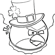Free Printable Coloring Pages of Irish Angry Bird