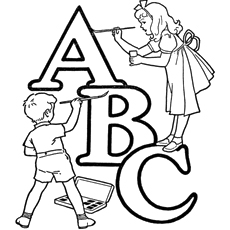 Kids Painting the Alphabet Coloring Pages Printable