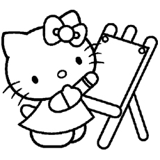 hello kitty becomes the artist coloring pages - Kitty Coloring Pages