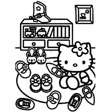Hello Kitty Choosing Shoes Coloring Pages