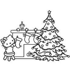 hello kitty decorating home on christmas coloring pages