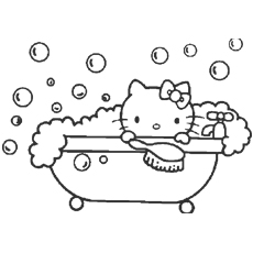 Hello Kitty Enjoys A Bubble Bath Coloring Pages to Print