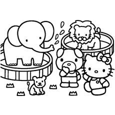 Hello Kitty Helps in Shopping Printable Coloring Pages
