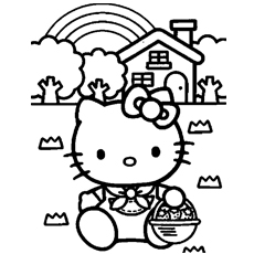 hello kitty house free printable kitty an angel coloring pages - Kitty Printable Color Pages