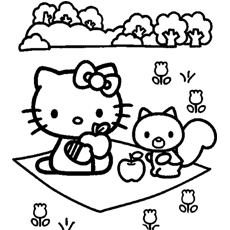 Printable Hello Kitty On A Fun Picnic Coloring Pages