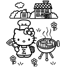 Kitty Cooking Snacks Coloring Pages