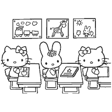 Kitty in Class Coloring Pages