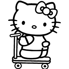 Hello Kitty Riding Tri Cycle Coloring Pages