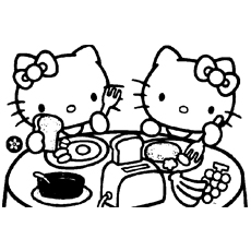 Kitty And Mimmy Having Breakfast Coloring Pages