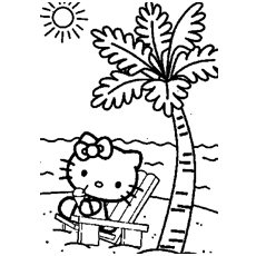 Kitty On The Beach Coloring Pages To Print
